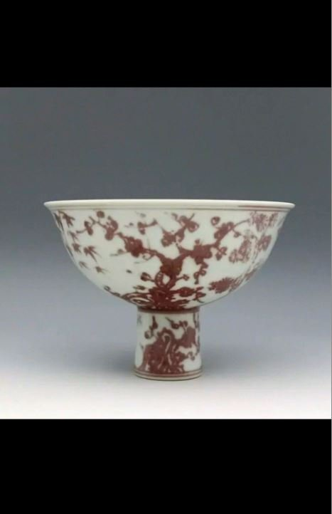 A Rare Ming Dynasty Red ans White Stem Cup