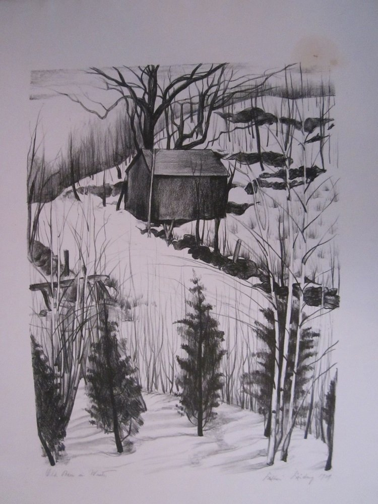 "Linding, Lillian ""Old Barn in Winter"" Dated 1929"