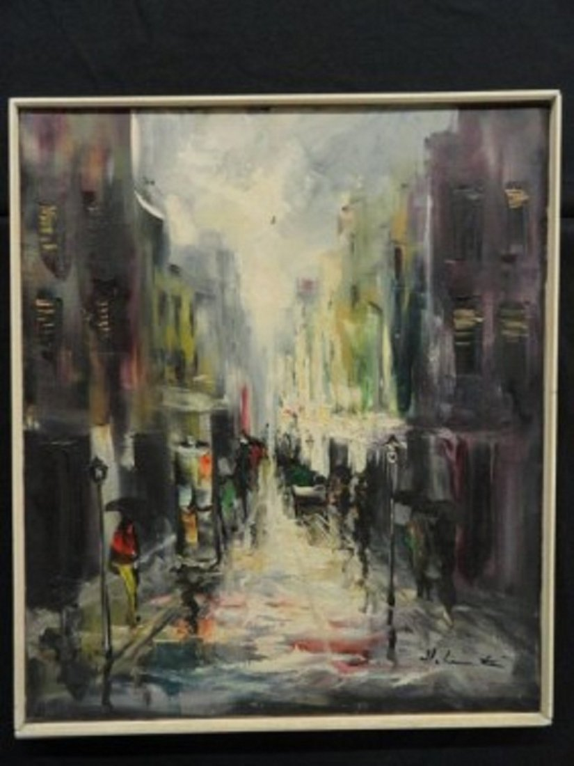 "Koller, Heinz ""Untitled"" Cityscape framed oil"