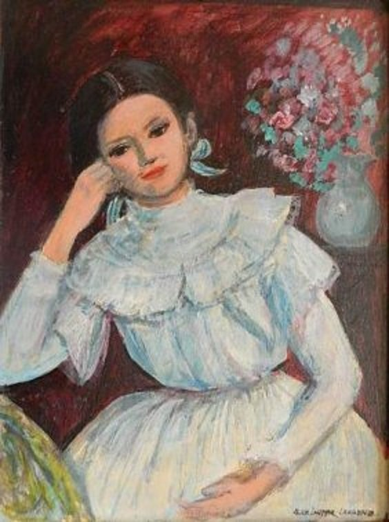 "Laufer-Lawrence,Alice(US b1916)""Florence in White""Oil"