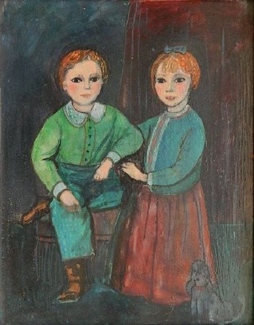 "Alice Lauffer Lawrence(USA b.1916-)""Two Children""Oil"