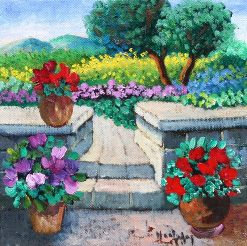 "Kun , Hedy  ""Backyard"" Original Oil Painting on Canvas"