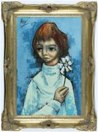 """Large Abstract """"Portrait of Young Girl With Flower""""O/C,"""