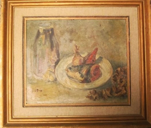 "Moshe Fishzohn(Israel-""Still Life"". Oil/canvas Jewish"