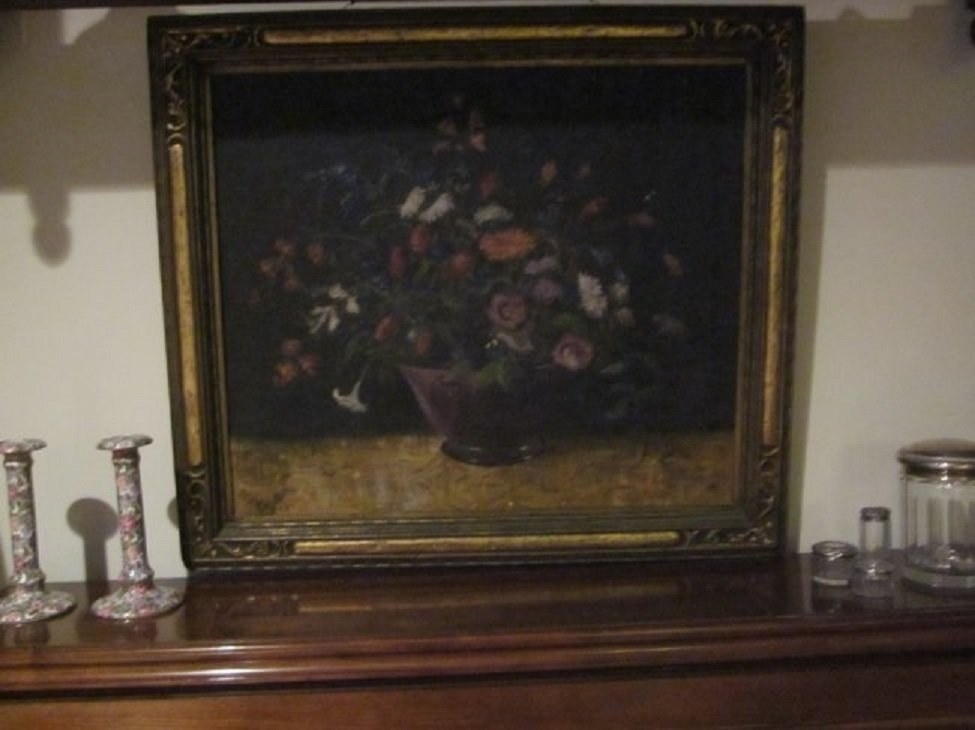 "Vintage Still Life Oil on Canvas""Beautiful Bouquet"""