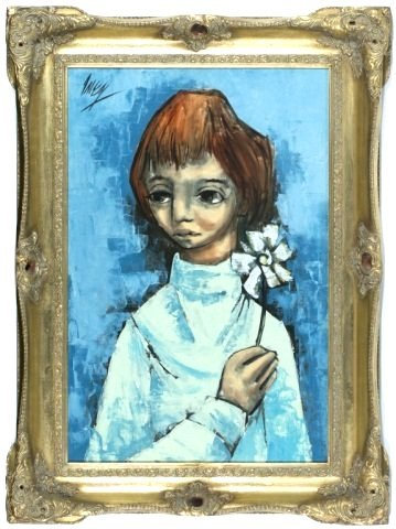 """Amen? """"Portrait of Young Girl on Blue Background"""" O/C"""