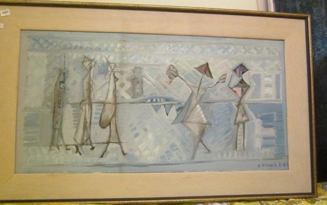 "Shlomo Schwartz""Untitled: Five figures/blue Israel"