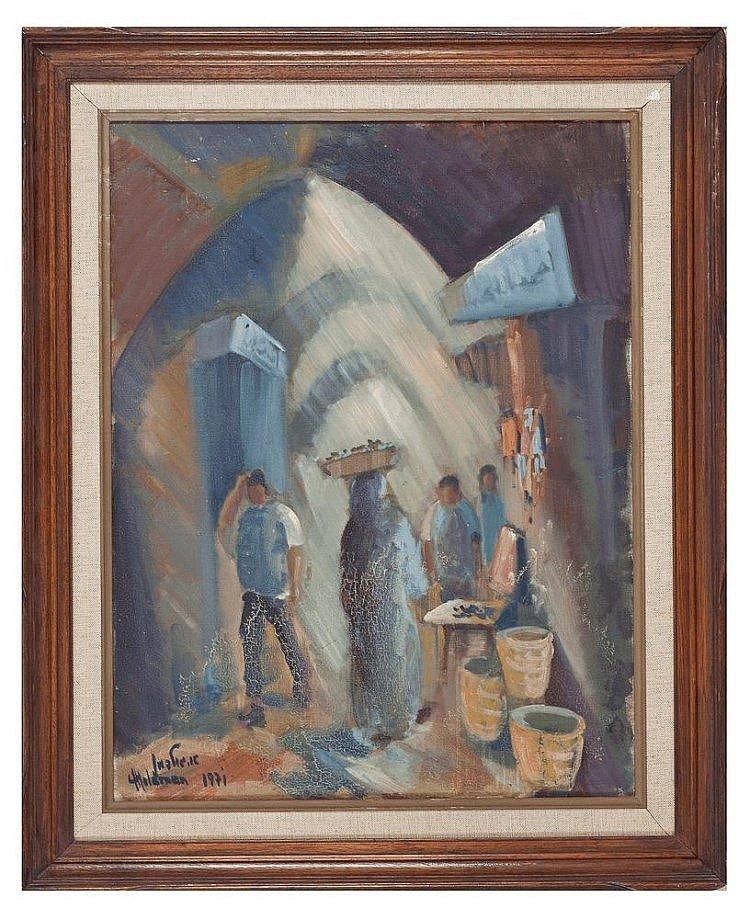 "Albert Goldman(Israeli 1922)""Figures/Jerusalem Alley"""