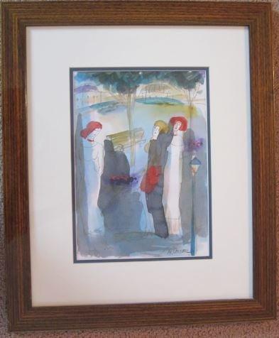 "Moshe Leider""Untitled""Artist signed Watercolor.Israel"