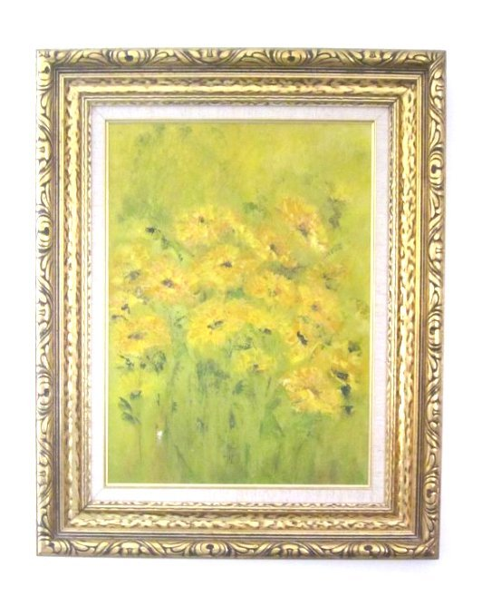 """""""Burst of Yellow"""" oil on canvas. Unsigned"""