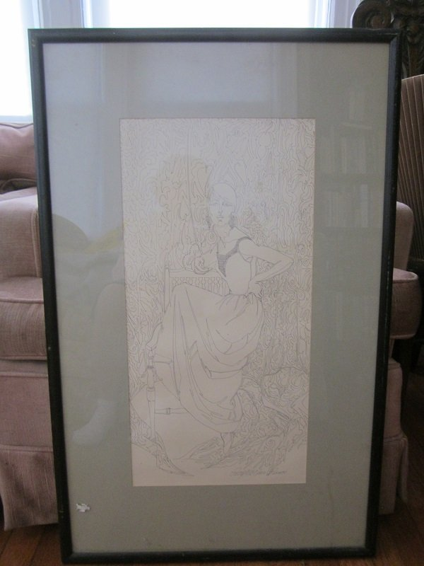 """Vintage Patty McNair Bruce""""Contiuous Line"""" Ink drawing"""