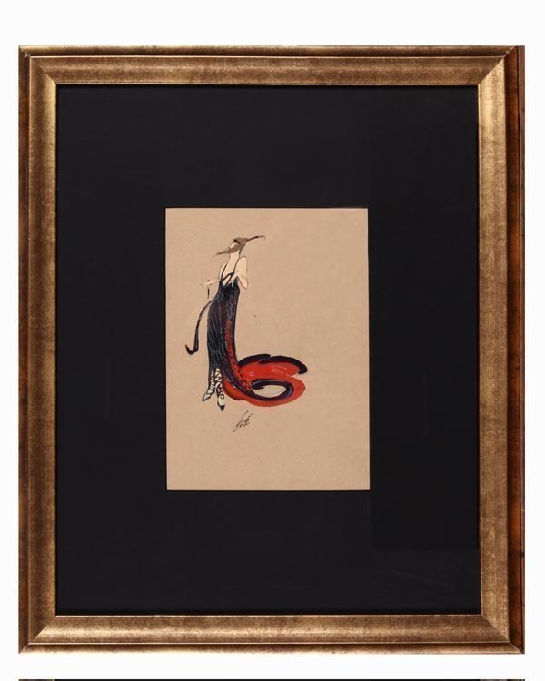 "Attributed : ERTE Rare ""Black Magic\"" Original Gouache"