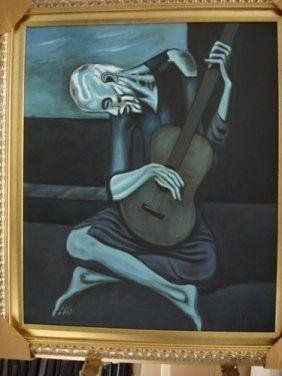 Picasso Signed Oil on Canvas The Old Guitariste 5/10