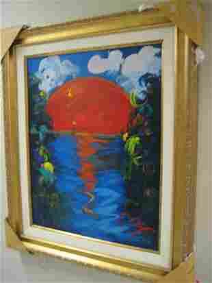 Fine attrib : Peter Max oil on canvas, Better World COA