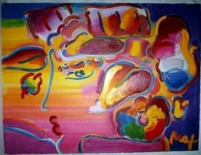 Signed Peter Max Embellished Giclee on Canvas