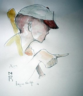 ATTRI: N Rockwell Pencil & Watercolor - Day In the Life