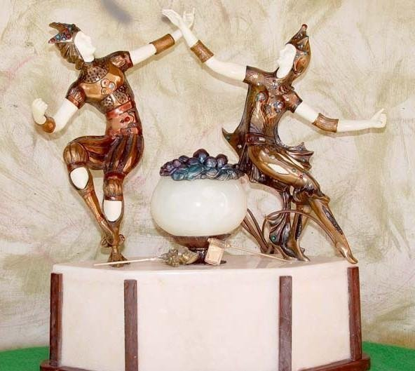 Jesters - Bronze & Onyx Sculpture by Peyre-Lamp