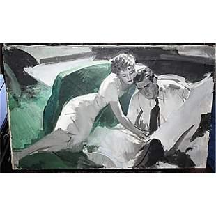 llustrator Edwin Henri Oil on Canvas N Rockwell signed
