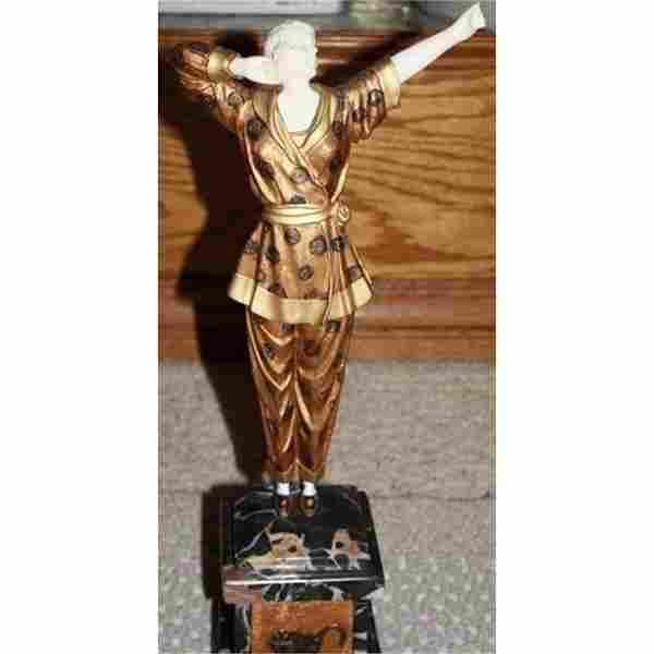 Wonderful Bronze & Ox Bone Deco Book Pajama Chiparus