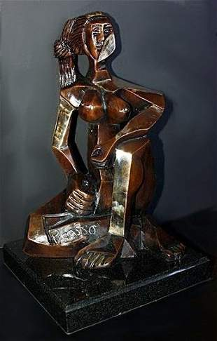 Wonderful Picasso Bronze Sculpture Seated Woman 6299