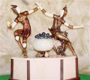 Jesters Bronze Onyx Sculpture by PeyreLamp