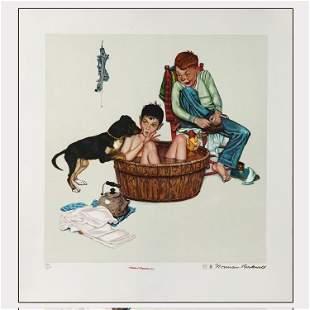 N Rockwell Original GoldSigned Litho Licking Good Bath