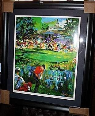 Leroy Neiman Double Signed Lithograph Tiger Wood