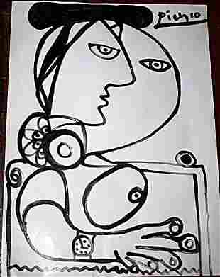 Picasso Attributed Signed Original Pen Ink on Paper