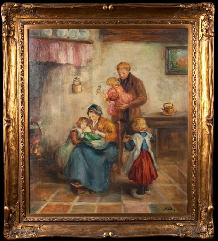 """Exquisite M Fiethen Oil Painting On Canvas """"The Family"""""""