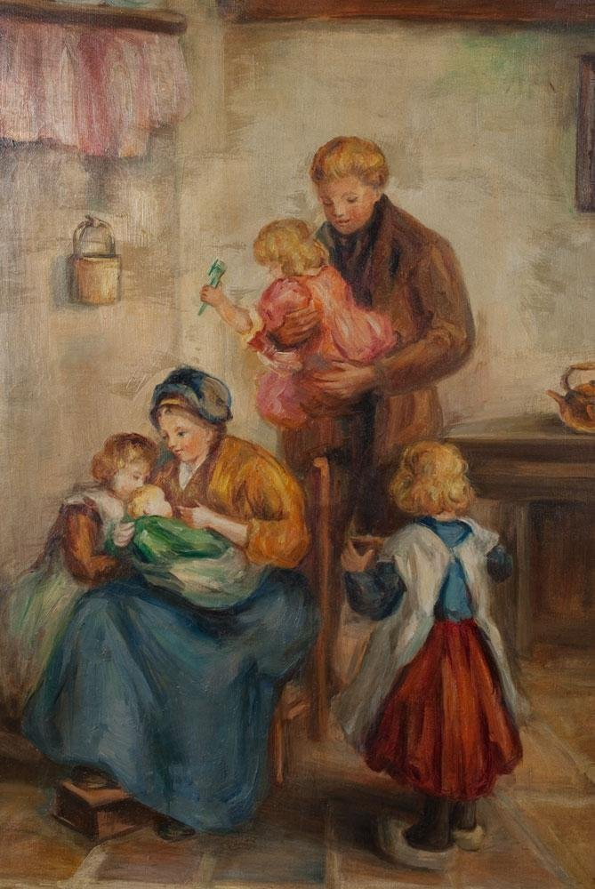 """Exquisite M Fiethen Oil Painting On Canvas """"The Family"""" - 2"""