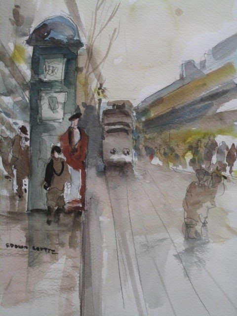 EDOUARD CORTES IMPRESSIONISTIC WATER COLOR SIGNED