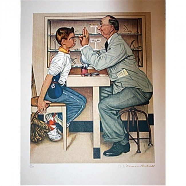 N Rockwell Original Gold-Signed Lithograph - Optometris