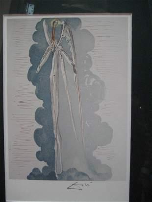 Extremely Rare Original Signed S Dali Woodblock COA
