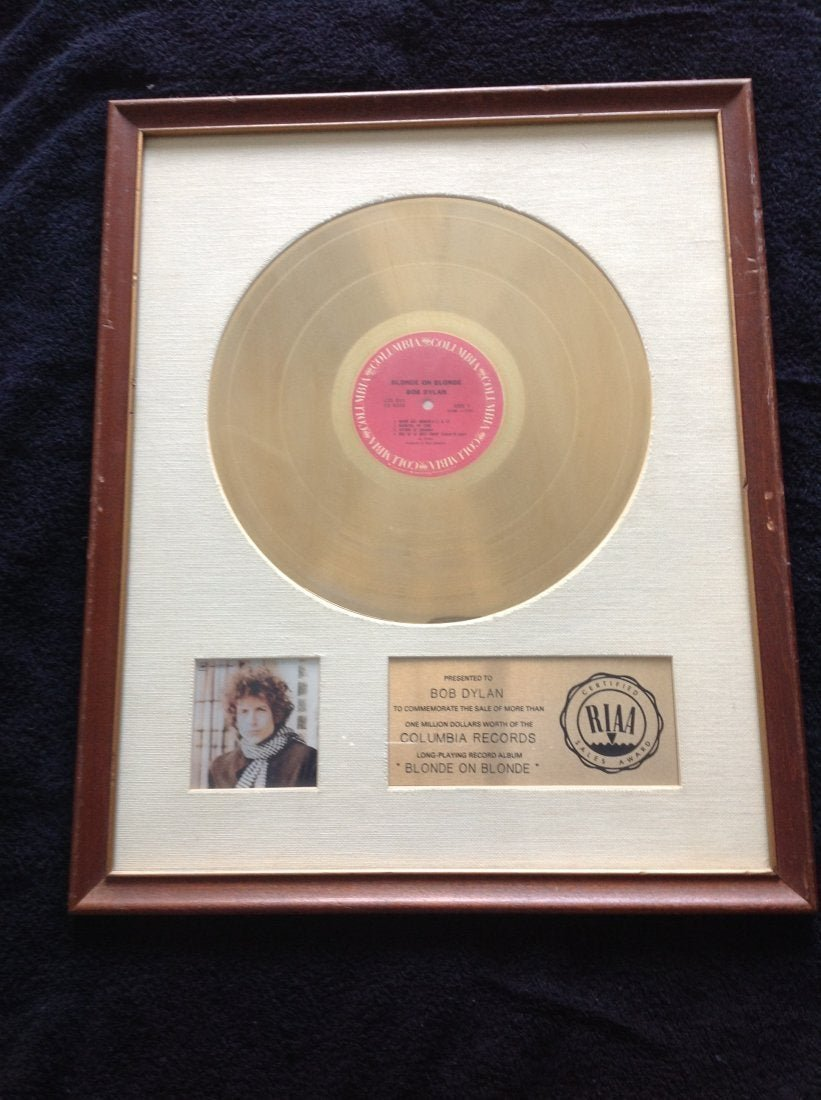 Personal Gold Album RIAA presented to Bob Dylan 1966