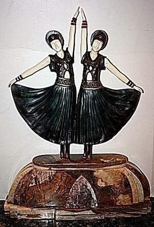 Dolly Sisters - Bronze On Onyx Sculpture by Chiparus ED