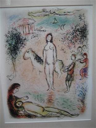 Marc Chagall Signed From The Odyssey Suite COA EDIT