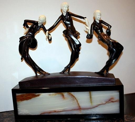 Three Dancers - Bronze & On Onyx Sculpture by Phillipe