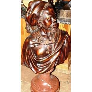 Orientaliste Bronze Warrior On Rare Pink Granit Base ED