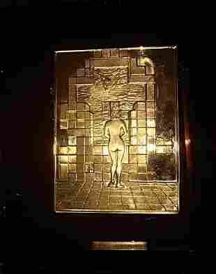 S Dali Gala Plaque Bronze On Plexi Rare