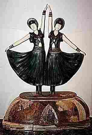 Dolly Sisters - Bronze On Onyx Sculpture by D Chiparus