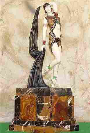 Yambo - Bronze On Onyx Sculpture by D Chiparus LOVELY