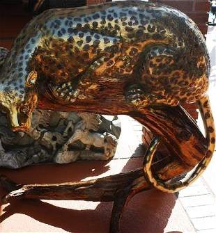 Amazing Huge BRONZE Leopard on a tree by Bayre Turn he