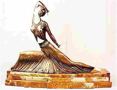 Beautiful Chiparus-Bronze & Ox Bone Sculpture-Clara
