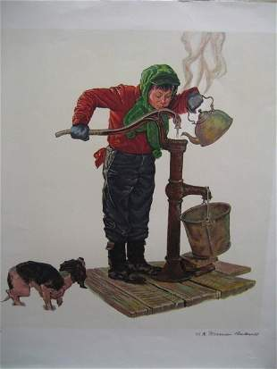 Rare Lithograph Norman Rockwell 445 Signed Gold Edition