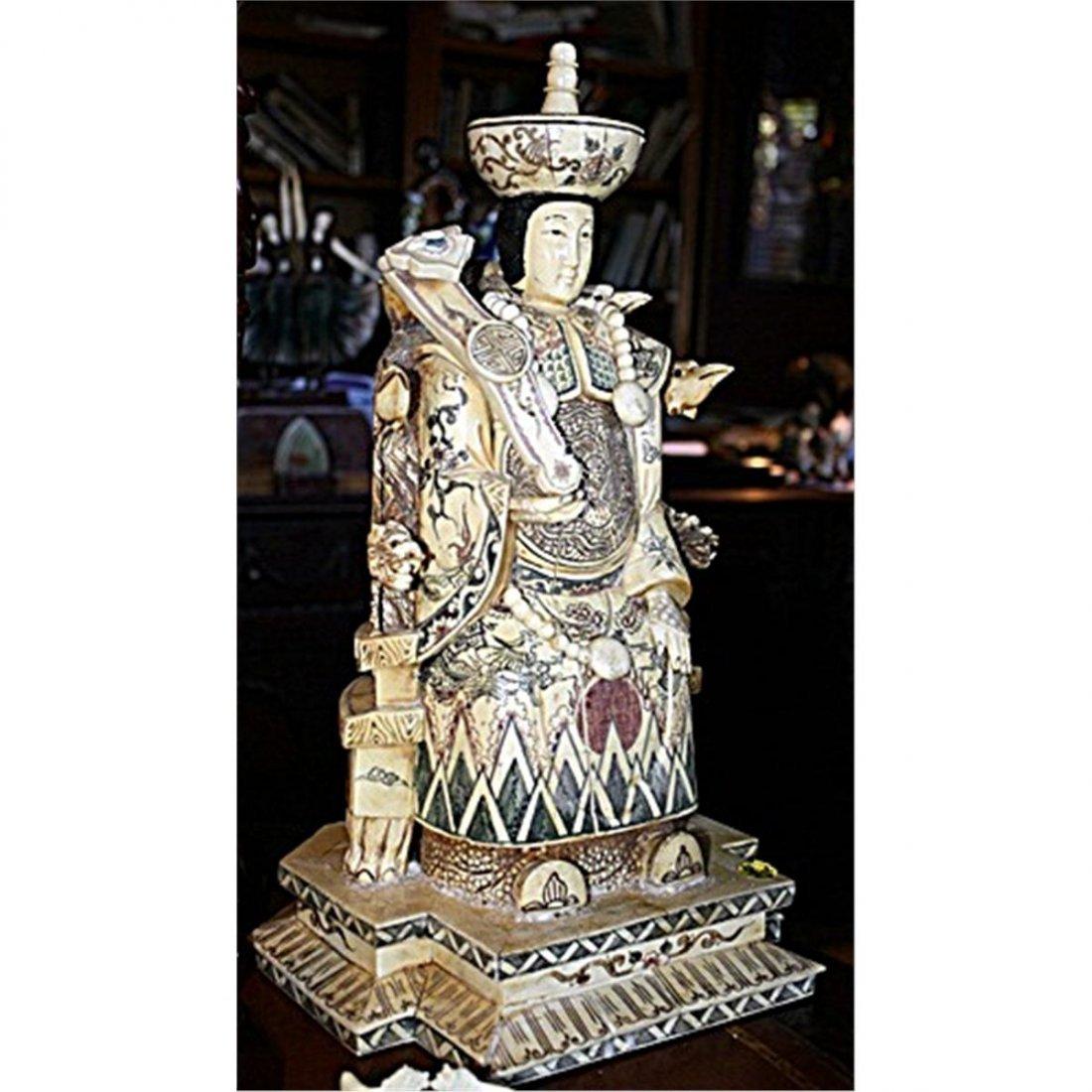 Rare Chinese Carved Ox Bone Kuanyin 20th