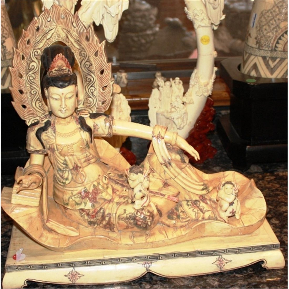 Antique Chinese Ox Bone Carved Princess 19th