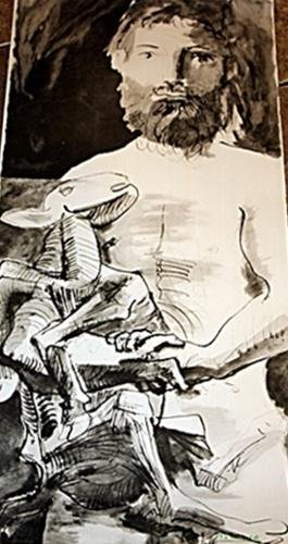 ATT:Original Picasso Lithograph - Man with Goat signed