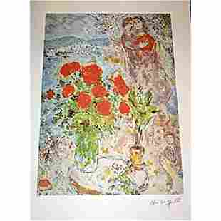 Signed and Numbered Chagall Lithograph - Red Bouquet