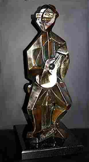 Beauty Rare Picasso Bronze Sculpture-Man With Guitar