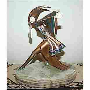 Gerdago Signed Bronze & Ivory - Corrina (Rare)